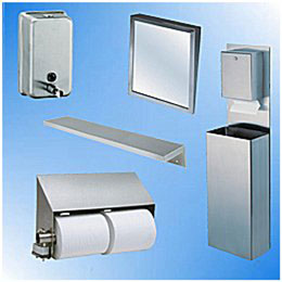Click Here for Paper Dispensers, Lotion Soap Dispensers, Mirrors, Shelves, Wall Panels, Corner Guards and Wall Fixtures
