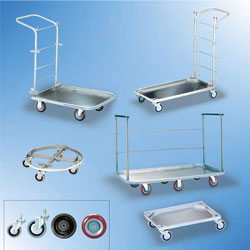 Click Here for Trash Carts, Floor Carts, Utility Carts and Wheel Bases. Click Here for 3inch, 4inch and 5inch Replacement Casters!