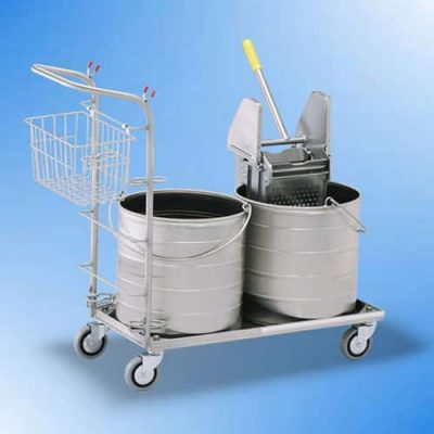 Stainless two buckets on cart
