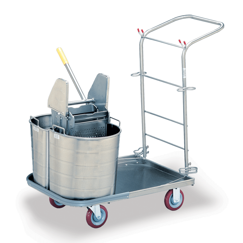 Stainless Double Bucket Utility Cart with Handle