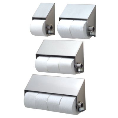 Slanted stainless steel toilet paper holders
