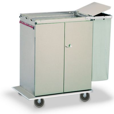 Double Door Linen Cart with Lidded Trash Bag
