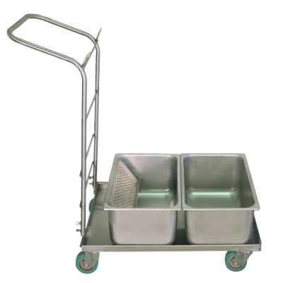 Autoclavable cart with drawn stainless tubs