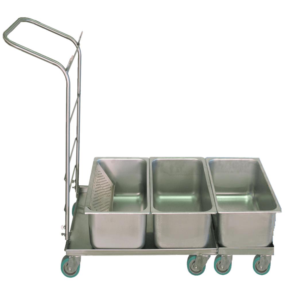 Stainless Steel Triple Flat Mop Tub Platform Cart - #1C-3D19118CS
