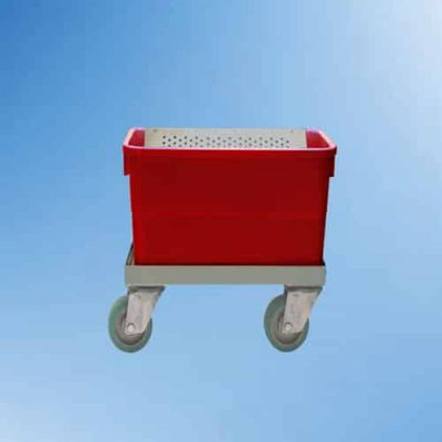 Autoclavable plastic tub on wheels