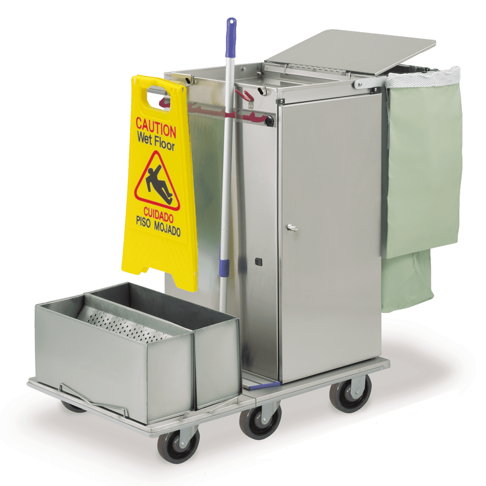 Double Tub and Sieve Microfiber System for Janitor Cart
