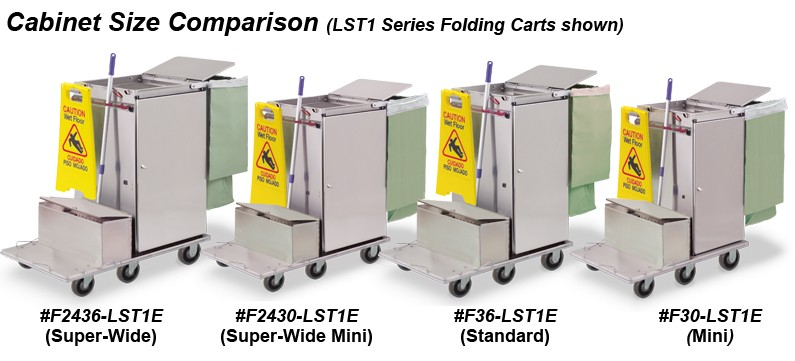 Microfiber housekeeping cabinet carts with locking tubs