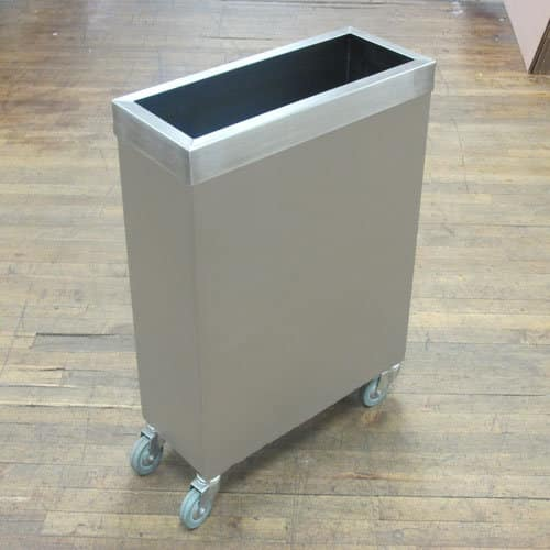 Stainless trash bin on casters
