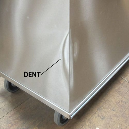 stainless cabinet with dent