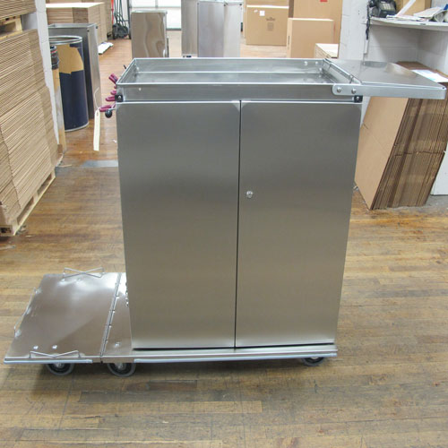 Stainless steel two door janitor cart