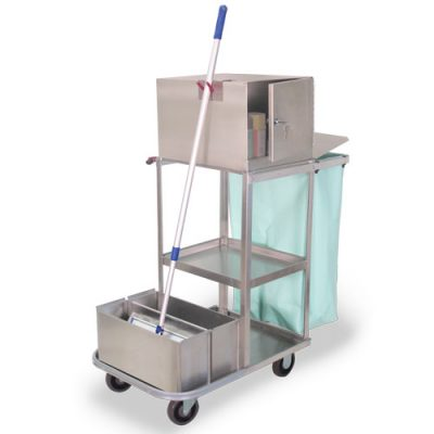 Stainless Utility Cart with Tubs and top box