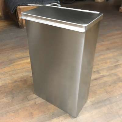 Stainless Steel Receptacle with Hinged Lid